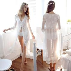 2194f352b6 Fashion Lace White Wedding Robes Lingerie Dreams Bridal Sleepwear Nigh –  intotham White Bridal, Bridal