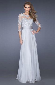 $132.69   Dove Grey Romantic A-line Sheer Zipper Appliques Plus Size Prom Dresses