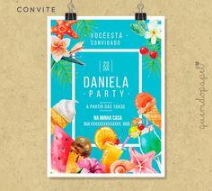 Sorvete, Convite Sorvete, Festa Sorvete, Convite Pool Party, Convite Verão, Festa do Havaí