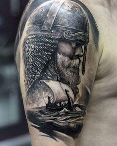 viking tattoo, kopf, kämpfer, wikinger, helm, schiff