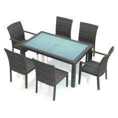Outdoor Harmonia Living District Wicker 7 Piece Rectangular Patio Dining Set Heather Beige - HL-DIS-TS-7DS-HB
