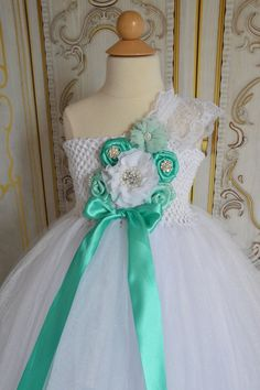 Tiffany Blue and White flower girl tutu by TutuSweetBoutiqueINC, $70.00