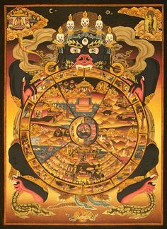 The Wheel of Life: A Buddhist Model of the Neurotic Mind. According to Buddhism, suffering can also be based on how you interact with others in relationship to the wheel of life. Tibetan Art, Tibetan Buddhism, Buddhist Art, Mandala Art, Vajrayana Buddhism, Thangka Painting, Buddhist Philosophy, Eastern Philosophy, Wheel Of Life