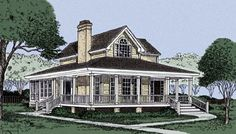 Country   Farmhouse  Narrow Lot   House Plan 45628