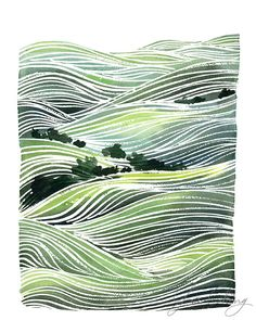 Green Rolling Hills Watercolor Art Print by YaoChengDesign Watercolor Art Paintings, Watercolor Landscape, Landscape Paintings, Watercolor Print, Landscape Art, Landscapes, Piercings, Canvas Art Quotes, Collaborative Art