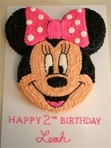 "Minnie Mouse Cake 12"" round for the face and either 6"" or 8"" rounds for the ears."