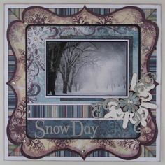 Muted Soft Colors Winter Page...substitute a photo of your family out playing in the snow. Scrapbooking