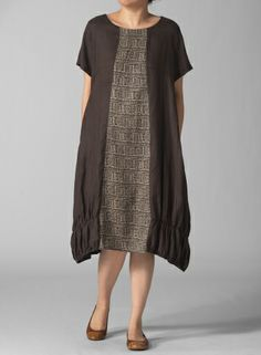 Linen Round Neck Short Sleeve Dress