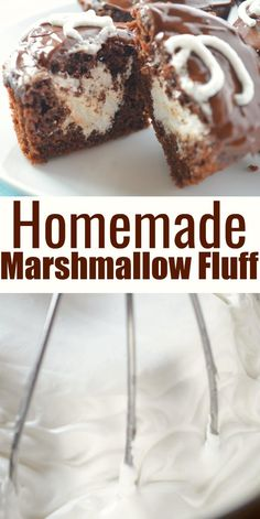 Homemade Marshmallow Fluff Recipe Make your own Marshmallow Fluff for all your favorite recipes. Homemade Marshmallow Fluff with no corn syrup from Serena Bakes Simply From Scratch. Marshmallow Creme, Homemade Marshmallow Fluff, Homemade Marshmallows, Banana Recipes, Fudge Recipes, Best Dessert Recipes, Chocolate Recipes, Chocolate Tarts, Chocolate Fudge