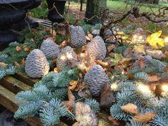 Fru Pedersens have: Trellebordet dækket til jul i haven.