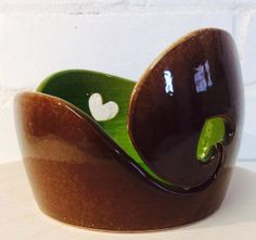 Yarn Bowl glazed in Chocolate and Lime with heart by EarthWoolFire, £45.00