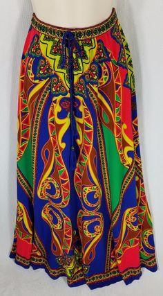 Flying Tomato Skirt Size Medium Long Maxi Bright Deep Color Hippy Boho Ethnic #FlyingTomato #Maxi