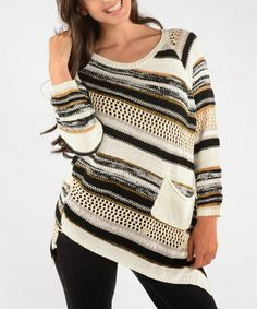 Take a look at this Off White Diagonal Stripe Sweater by Shoreline on #zulily today!