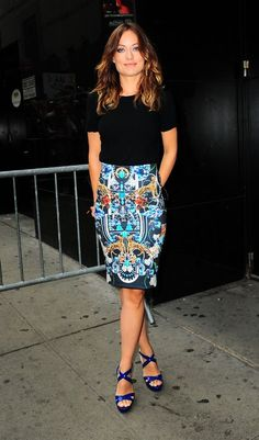 Olivia Wilde in a Clover Canyon skirt