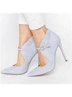 Fall Glueing Plain Rubber Low-Cut Upper Ultra-High Heel Spring Stiletto Heel Pumps