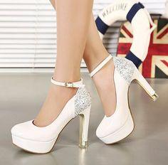 Glitter com tira no tornozelo salto branco vestido de casamento da noiva sapatos confortáveis moda Prom vestido de dança sapatos tamanho 34 a 39
