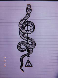 The Art of Drawing - Harry Potter Snake, Tatto Harry Potter, Harry Potter Artwork, Harry Potter Drawings, Harry Potter Wallpaper, Cute Tattoos, Body Art Tattoos, Small Tattoos, Kritzelei Tattoo