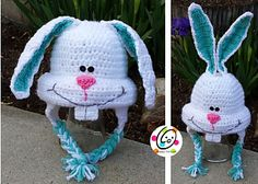 Crochet bunny hat pattern by Snappy Tots. Includes a popular snowman too.