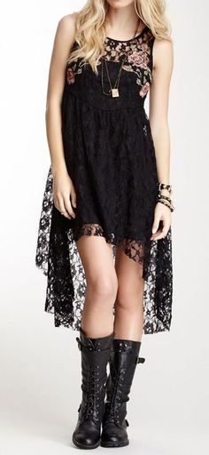 Black Lace Swallowtail Dress ♥
