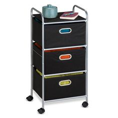 "Honey-Can-Do 3-Drawer Fabric Storage Cart - Black - Honey Can Do - Babies ""R"" Us"