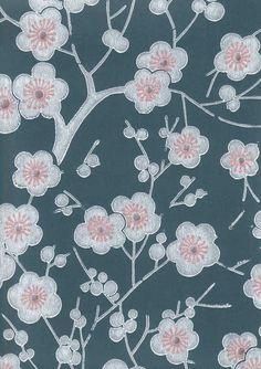 Paperitapetti, Kirsikkapuu, sini-valkoinen - Pihlgren & Ritola