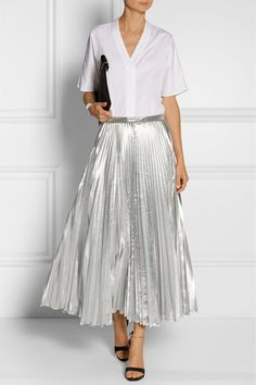 DKNY | Pleated metallic taffeta midi skirt | NET-A-PORTER.COM