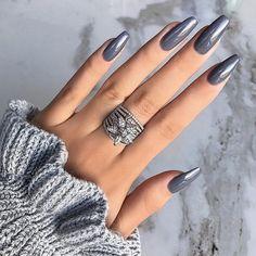 nails one color short - nails one color ; nails one color simple ; nails one color acrylic ; nails one color summer ; nails one color winter ; nails one color short ; nails one color gel ; nails one color matte Gray Nails, Matte Nails, Grey Nail Art, Shellac Manicure, Manicure Ideas, Diy Gel Nails, Dark Nude Nails, Black Chrome Nails, Fake Gel Nails