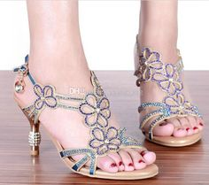 Fashion Gold & Blue Sandal Floral Crystal Rhinestones 8cm High Heels 2015 Prom Evening Party Dress Women Lady Bridal Wedding Shoes, $44.24 | DHgate.com