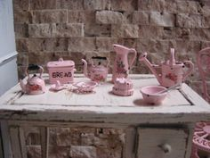 1/2 inch scale Dollhouse Miniature Vintage Style Shabby Chic Pink Kitchen and Garden Accessories