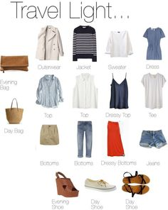 Updated version of 'Travel Light' perfect capsule travel wardrobe.