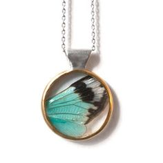 Hey, look what I found! Check out Cicada Wing Necklace Blue by Carrie Bilbo Jewelry on Bezar