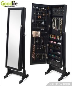 Bedroom Furniture Wooden Jewelry Armoire With Mirror For Ladies Jewelry Mirror, Jewelry Cabinet, Jewelry Armoire, Makeup Drawer Organization, Makeup Storage, Home Organization, Wooden Makeup Organizer, Jewelry Organization, Jewellery Storage