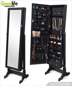 Independiente del gabinete joyero de madera con espejo de maquillaje y cajones organizador