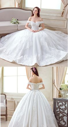 "Falling in love with this ball gown wedding dress with off-shoulders and covered upper arms! Would this be the one for your big day? Repin if you like it! Remember to use coupon code ""PTL30531"" for an extra discount when you spend $150+"
