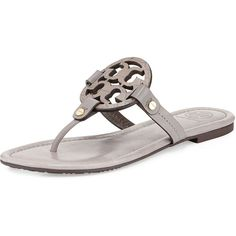 37fa5885bf42d6 Tory Burch Miller Logo Flat Sandal ( 235) ❤ liked on Polyvore featuring  shoes