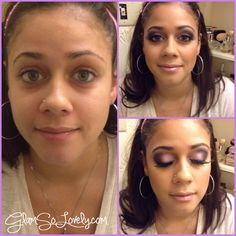 Before and after using the Mac Kelly Osbourne Quad palette  #glamsolovely #maccosmetics #glam #smokeyeye #redcherry #eyelashes #beauty #nars #bronzed #makeup #makeuplook #purplesmokeyeye #pink