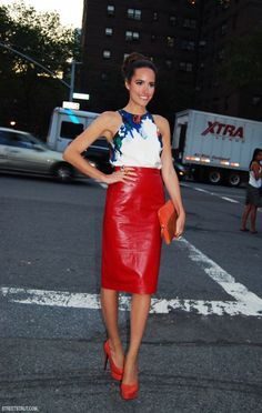 Louise Roe red leather skirt