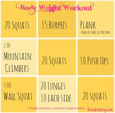 Bodyweight workout - I think I'm going to cut these into individual pieces of paper and make my client grab one out of a baggy, then preform the exercise written. Fitness Tips, Fitness Motivation, Health Fitness, Fitness Goals, Ways To Lose Weight, Weight Loss Tips, At Home Workouts, Circuit Workouts, Weight Workouts