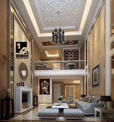 Inspiring Chinese Interior Design Themes: Awesome Chinese Interior Design With Luxury Chandeliers Hanging On Mosaic Ceiling Also Gray Sofa Sets And Silver Black Golden Cushions Along With Rounded Mirror Framed Also Picture Frame ~ promwardrobe.com Interior Design Inspiration