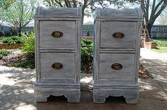 Could put footing and paint finish on metal file cabinets for an office - cute idea.   Post on Okla-HOME-a, found pic via Dittle Dattle