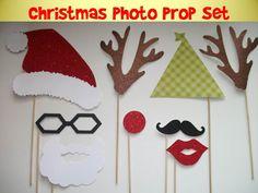 Christmas Photo Prop on a stick mustache on a stick photo prop assembled kit. $32.00, via Etsy.