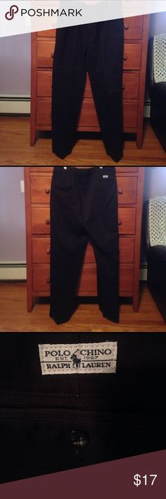 Polo Ralph Lauren black chino MEN 38 X 31 Polo Ralph Lauren black chino MEN 38 X 31 pants. Cuffed bottom, a few pleats in front. Two front and back pockets. Back with buttons. 100% cotton, machine washable. Polo by Ralph Lauren Pants Chinos & Khakis