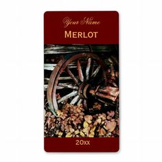Shop Old cart wheel red wine label created by myworldtravels. Wine Bottle Labels, Wine Label, Label Templates, Custom Address Labels, How To Be Outgoing, Red Wine, Cart, Printables, Personalized Address Labels