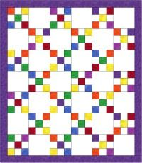 "'Rainbow Delight Quilt'  This quilt has been designed with the beginner quilter in mind. This quilt is made from 2 different sized squares. The small squares are cut 3 1/2"" and the large squares are cut 9 1/2"". There are 42 blocks in this quilt - 21 are nine patch blocks and 21 are plain white blocks."