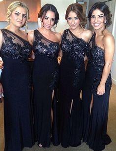 Black Bridesmaid Dress, One-shoulder Bridesmaid Dress,Lace Top Bridesmaid Dress,Leg Slit Bridesmaid Dress,Elegant Bridesmaid Dress, PD11