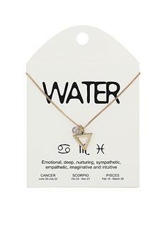 Water sign necklace. For Scorpio, Cancer and Pisces.