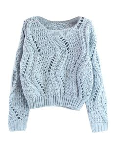 Green Plain Hollow-out Long Sleeve Wool Blend Sweater Cute Sweaters, Winter Sweaters, Sweater Weather, Sweaters For Women, Knitwear Fashion, Knit Fashion, Fashion Outfits, Knitting Designs, Cropped Sweater