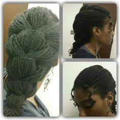 cute sisterlocks style :: faux french braid made w series of ponytails