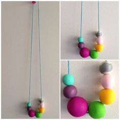 Bright coloured polymer clay long necklace. Handmade in Melbourne. on Etsy, $25.00 AUD