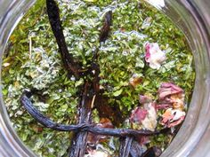 "Damiana Love Elixir   with Vanilla and Rose  ""Simply fill your jar with damiana, rose petals and vanilla bean. Then pour in 3/4 the way with your preferred alcohol and then the remainder with the delicious ooey gooey honey. Stir and let mellow for a month or longer. The longer the better! Sip, share, kiss and nibble with a luscious bar of 88% extreme dark chocolate.  You'll need: These are approximate as I don't use standard measures, so give or take.          1 ounce damiana leaves (dried)  ..."